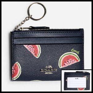 Coach Watermelon Print Mini ID Case Purse Keychain